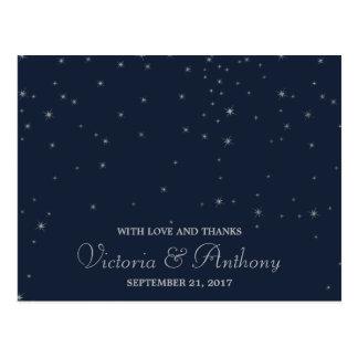 Carte Postale Étoiles filantes élégantes de marine et d'argent
