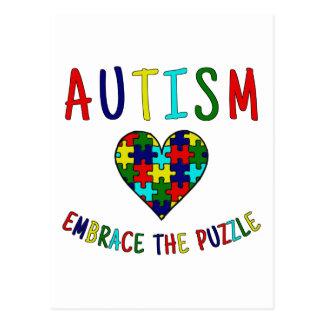 Carte Postale Étreinte d'autisme le puzzle