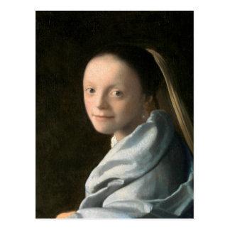 Carte Postale Étude de Johannes Vermeer d'une jeune femme