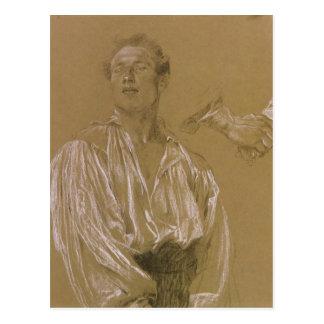 Carte Postale Étude de portrait d'un homme dans une chemise