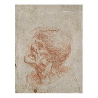 Carte Postale Étude de tête de caricature d'un vieil homme,