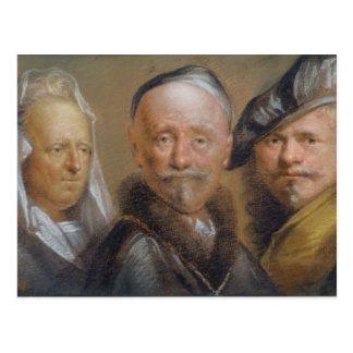 Carte Postale Études de cinq têtes après Rembrandt (en pastel