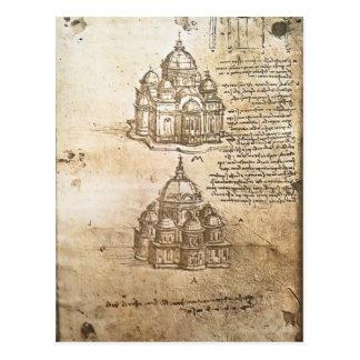 Carte Postale Études de Leonardo Vinci- des bâtiments centraux