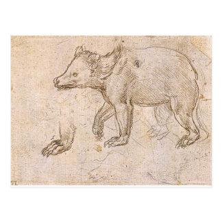 Carte Postale Études d'un BeWalking par Leonardo da Vinci