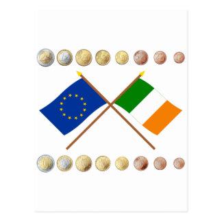 Carte Postale Euros irlandais et drapeaux d'UE et de l'Irlande