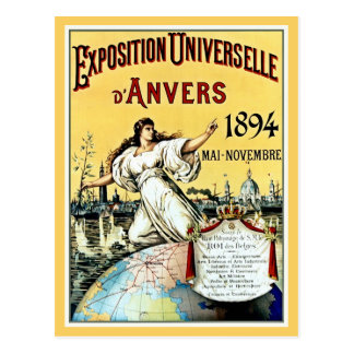 Carte Postale Expo antique vintage Anvers 1894 du monde
