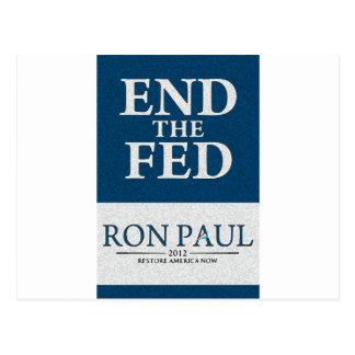 Carte Postale Extrémité de Ron Paul la bannière de Fed