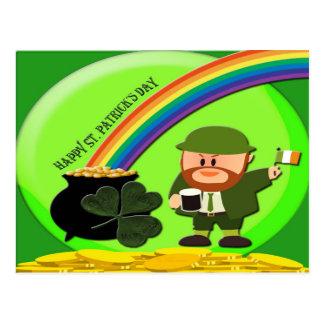 Carte Postale Extrémité du jour de St Patrick d'arc-en-ciel