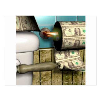 Carte Postale Factures abstraites de toilette du dollar