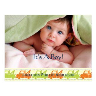 Carte Postale Faire-part de bébé de dépanneuse