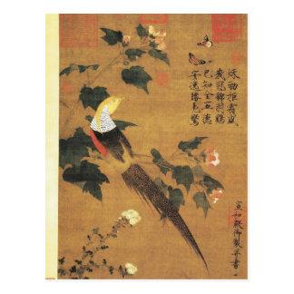 Carte Postale Faisan d'or et fleurs roses de coton par