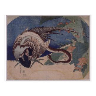 Carte Postale Faisan et serpent par Katsushika Hokusai