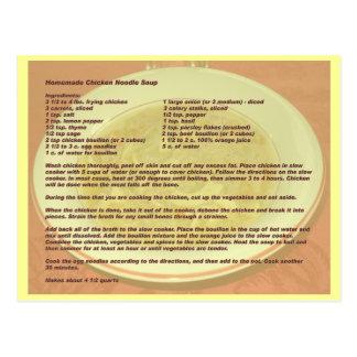 Carte postale faite maison de recette de soupe de