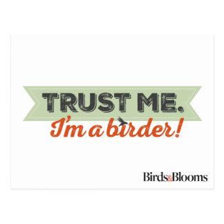 Carte Postale Faites- confiancemoi. Je suis un Birder ! Ruban