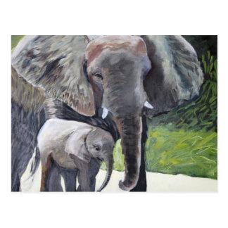 Carte Postale Famille des éléphants