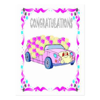 Carte Postale Félicitations - voiture de mariage