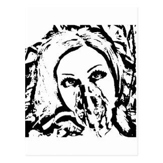 Carte Postale Femme de masque de gaz