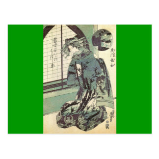 Carte Postale Femme japonaise dans le beau kimono circa 1820