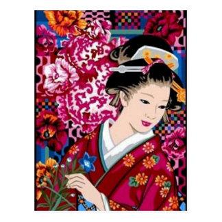 Carte Postale Femme japonaise vintage dans le kimono