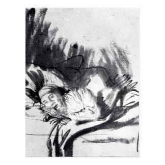 Carte Postale Femme malade dans un lit, peut-être Saskia