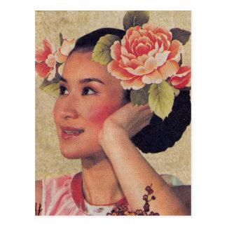 Carte Postale Femme vintage de Chinois d'illustration