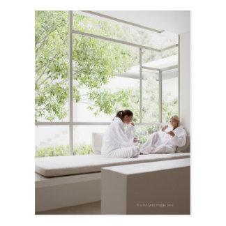 Carte Postale Femmes buvant du thé dans la fenêtre