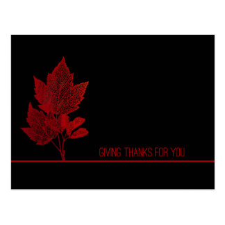Carte Postale Feuille de rouge de thanksgiving d'affaires