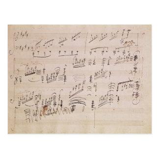Carte Postale Feuille de score de 'clair de lune Sonata