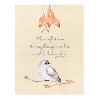 Carte Postale Feuille et oiseau d'automne de bénédictions de