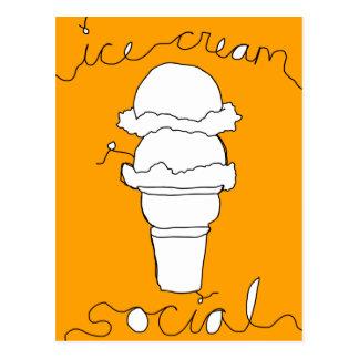 Carte Postale ficelles de social de crème glacée
