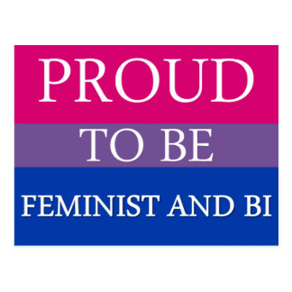 Carte Postale Fier d'être féministe et Bi