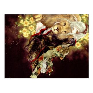 Carte Postale fille avec l'anime de lion