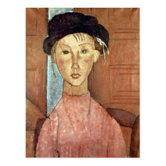 Carte Postale Fille avec le casquette par Amedeo Modigliani