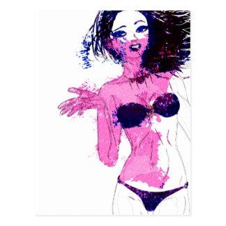 Carte Postale Fille de bikini d'aquarelle