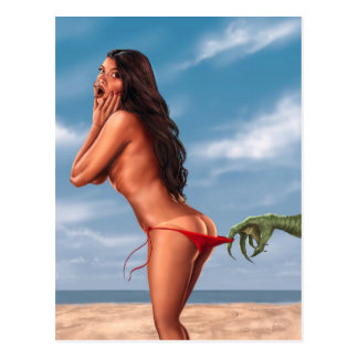 Carte Postale Fille de bikini et monstre de mer