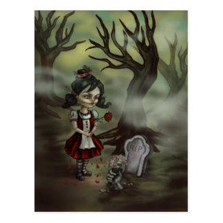 Carte Postale Fille de cimetière de zombi