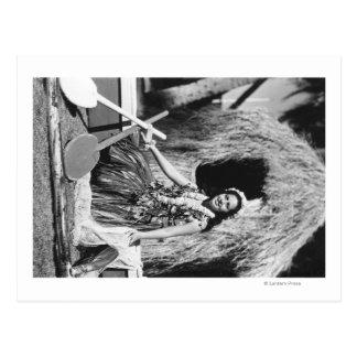 Carte Postale Fille de danse polynésienne avec la photographie