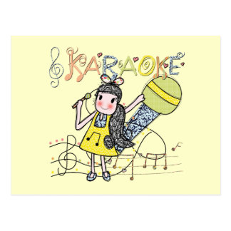 Carte Postale Fille de karaoke