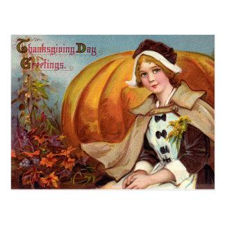 Carte Postale Fille de pèlerin de thanksgiving avec le