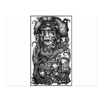 Carte Postale Fille de pirate de zombi
