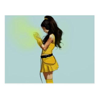 Carte Postale Fille de robe de jaune de Harajuku