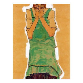 Carte Postale Fille d'Egon Schiele- avec la chasuble verte