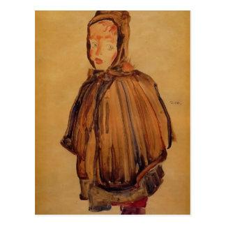 Carte Postale Fille d'Egon Schiele- avec le capot