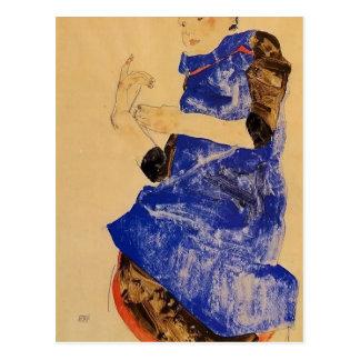 Carte Postale Fille d'Egon Schiele- dans un tablier bleu