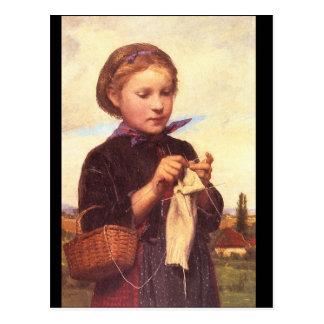 Carte Postale Fille Knitting', Albert_Portraits