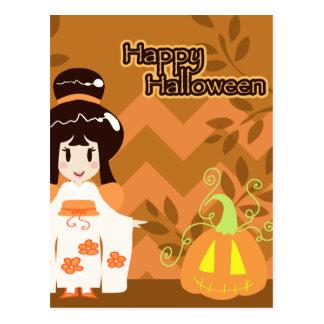 Carte Postale Fille mignonne de kimono de Halloween