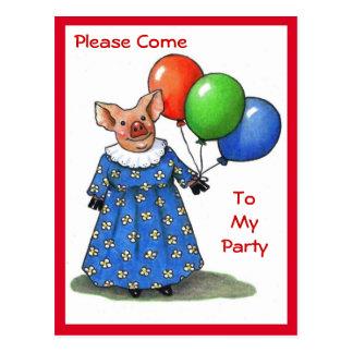 Carte Postale Fille porcine avec les ballons lumineux : Venez à