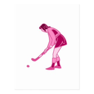 Carte Postale Fille rose d'hockey de champ