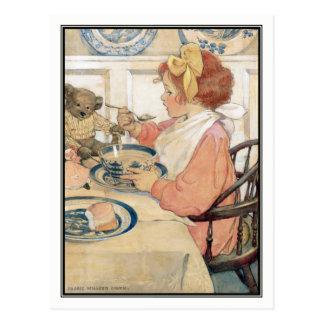 Carte Postale Fille vintage au petit déjeuner par Jessie Willcox