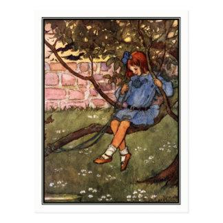 Carte Postale Fille vintage dans l'arbre par Florence Harrison